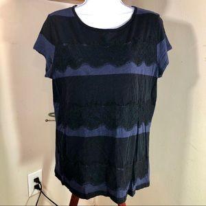 Loft | Lace Striped Blouse